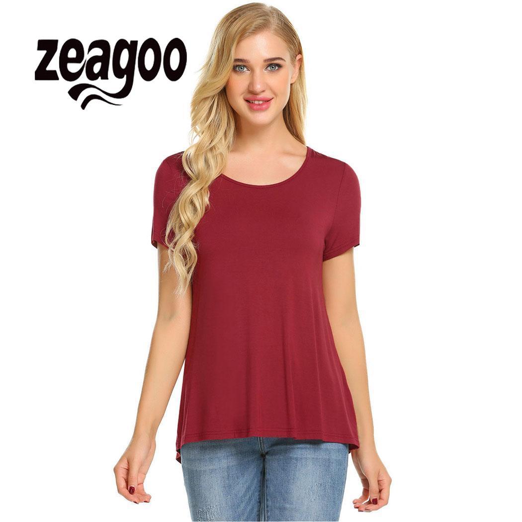 zeagoo Asymmetrical Loose Casual O-Neck Short Sleeve Women Hem T-shirt