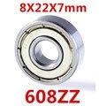 Alta Qualidade 10 pçs/lote Miniatura 608ZZ ABEC-5 rolamentos de esferas profundos do sulco do rolamento de esferas 8*22*7 milímetros acessórios impressora 3D P0 rolamento 608 2Z