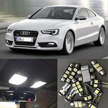 17 шт., автомобильный белый светодиодный светильник Canbus, лампочка, внутренняя посылка, комплект для 2008-2012 Audi A5 S5, карта, купол, номерной знак, светильник, лампа без ошибок
