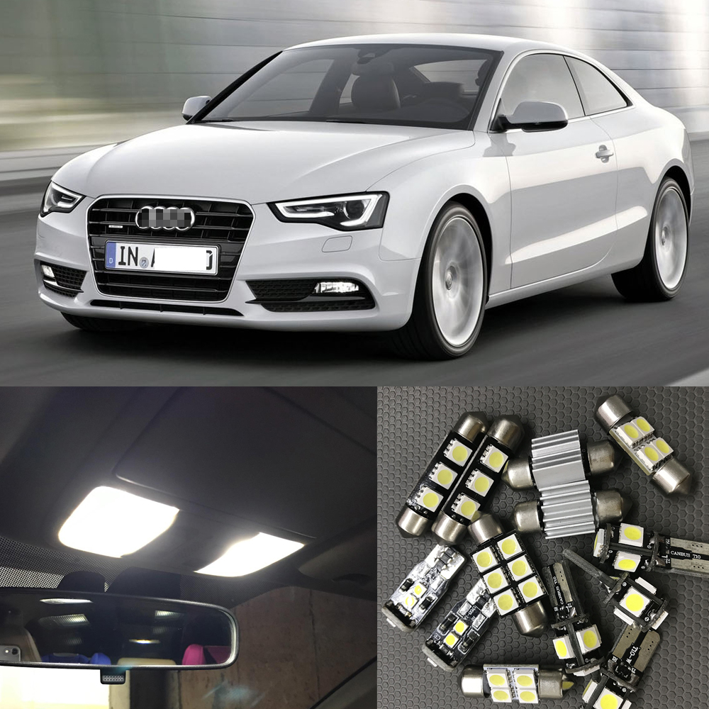 17pcs Canbus Car White LED Light Bulbs Interior Package Kit For 2008-2012 Audi A5 S5 Map Dome License Plate Light Lamp No Error 10pcs xenon white car interior led bulbs package kit for 2006 2012 toyota rav4 map dome license plate light toyota b 10