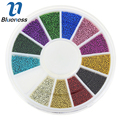 1 Wheel 3D 12 Colors Mixed Glitter Caviar Beads For Nail Art Jewelry Charm Manicure  Nails Decoration Accessory Studs ZP206