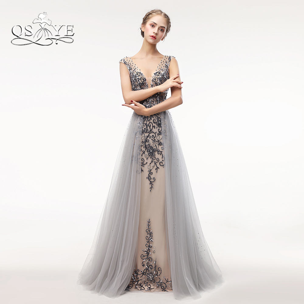 ab405e40d6c QSYYE Luxury Beading Long Prom Dresses 2018 Sexy Mermaid V Neck Backless Formal  Evening Dresses Tulle