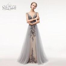 f81b9ae3ebe QSYYE Luxus Perlen Lange Prom Kleider 2018 Sexy Meerjungfrau V-ausschnitt  Backless Formale Abend-kleid Tulle Lange Partei-kleid