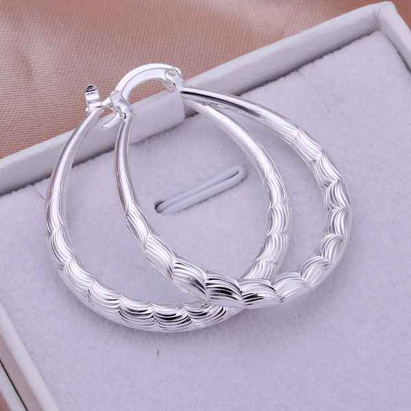 Wholesale High Quality Jewelry 925 jewelry silver plated Ellipse Skin Prismatic Earrings for Women best gift SMTE295