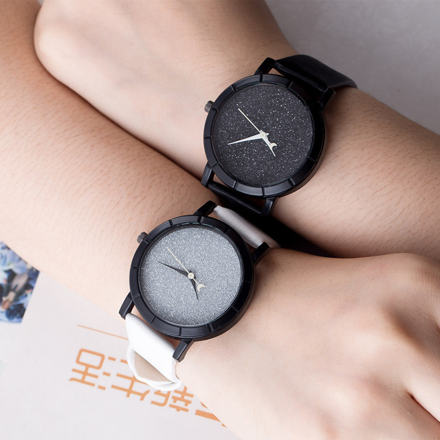 Korean Fashion Simple Women Watch Starry Sky PU Leather Lover's Quartz Wristwatc