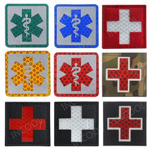 IR Reflective EMT Star of Life Embroidery Patch Military Morale Patches Tactical Combat Emblem Applique Cross Embroidered Badges(China)