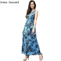 Irene Inevent Women Boho Maxi Elegant V Neck Dress Print Bamboo Leaf Dresses Beach Dress 2017