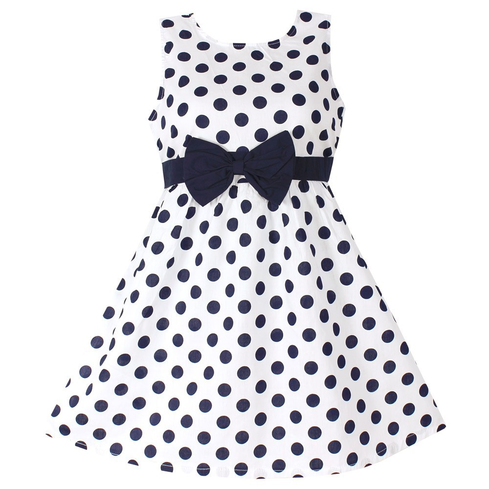 New Girls Dress Polka Dot Bow 100% Cotton Party Birthday Kids Clothing Size 2-12 недорго, оригинальная цена