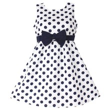 New Girls Dress Polka Dot Bow 100% Cotton Party Birthday Kids