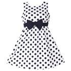 New Girls Dress Polka Dot Bow 100% Cotton Party Birthday Kids Clothing Size 2-12