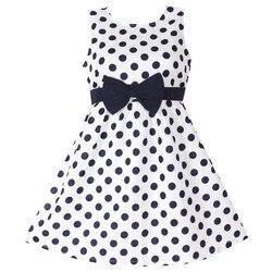 Novo vestido de meninas bolinhas arco 100% algodão festa aniversário crianças roupas tamanho 2-12