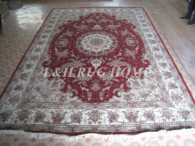 Free shipping 10'X14' 160 Line Handmade Wool and Silk Oriental Persian Rug hand Knotted persian carpet for home decoration