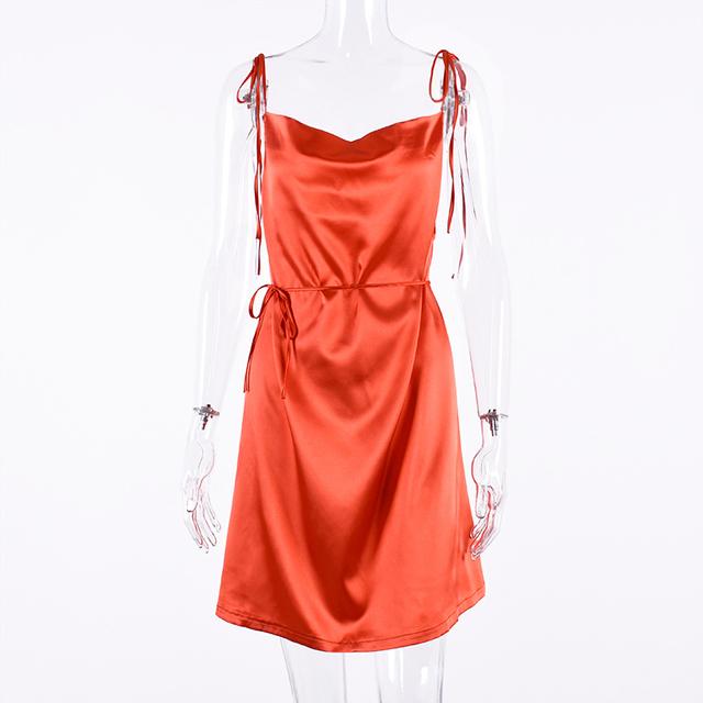 Short orange backless satin dress