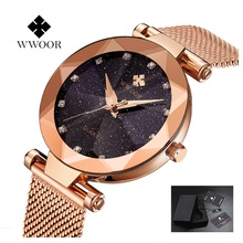 цена WWOOR Quartz Watch Women Luxury Brand Blue Stainless Steel ultra-thin Dial Ladies Watch Rhinestone Bracelet reloj mujer 2019 онлайн в 2017 году