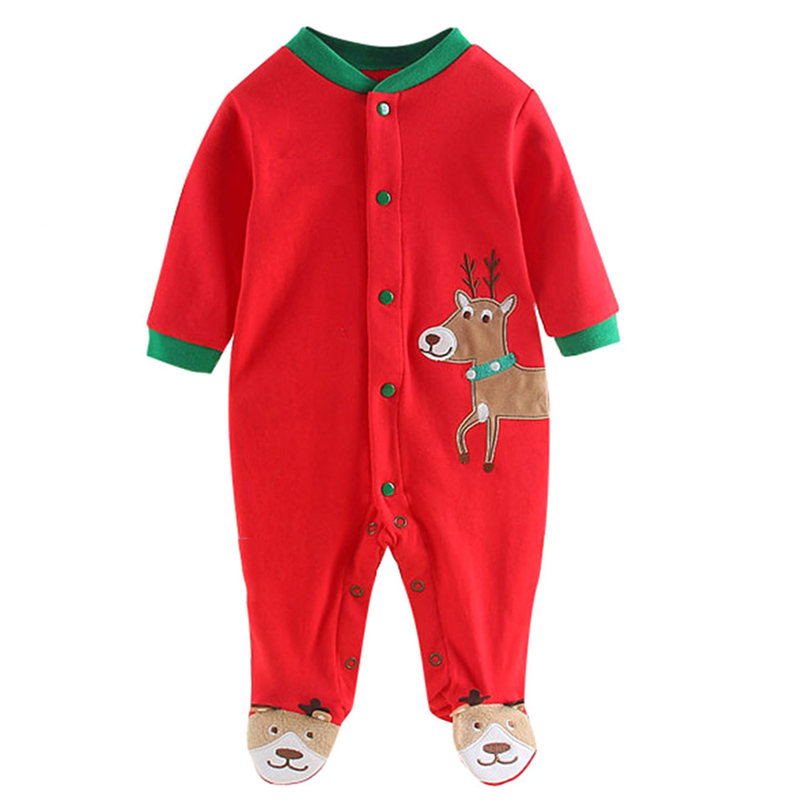 Newborn Baby Boy Girl Rompers Clothes Christmas Suits Autumn Winter Patchwork Clothes Infant Boy Deer Print Long Sleeve Clothes infant baby clothes sets warm long sleeve rompers newborn boy girl sweater christmas costume deer plush hooded outwear kids suit