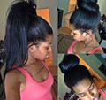 High ponytails full lace wigs glueless with adjust straps baby hair medium brown lace 150%high density yaki straight off black