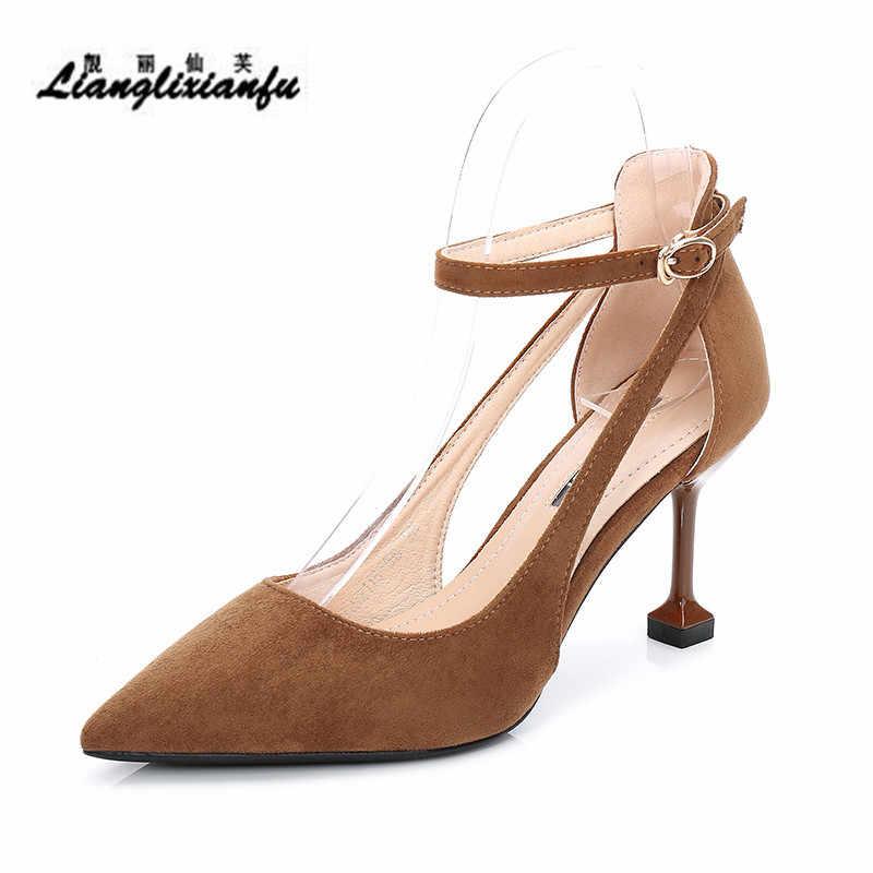 LLXF/Большие Размеры: 35 39 модная замшевая обувь женские вечерние туфли лодочки на
