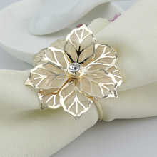 6PCS metal stainless steel napkin ring flower delicate