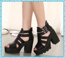 buckle black sandals summer shoes ladies platform shoes woman thick high heels sandals for women punk shoes peep toe pumps C856