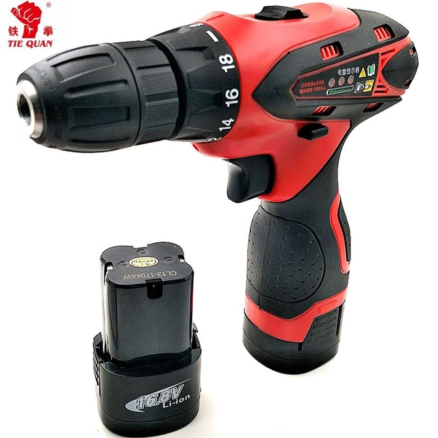 16.8v Screwdrivers with 2 batteries electric Drill Power tools Double speed electric  Drill Mini Drill  electric drilling