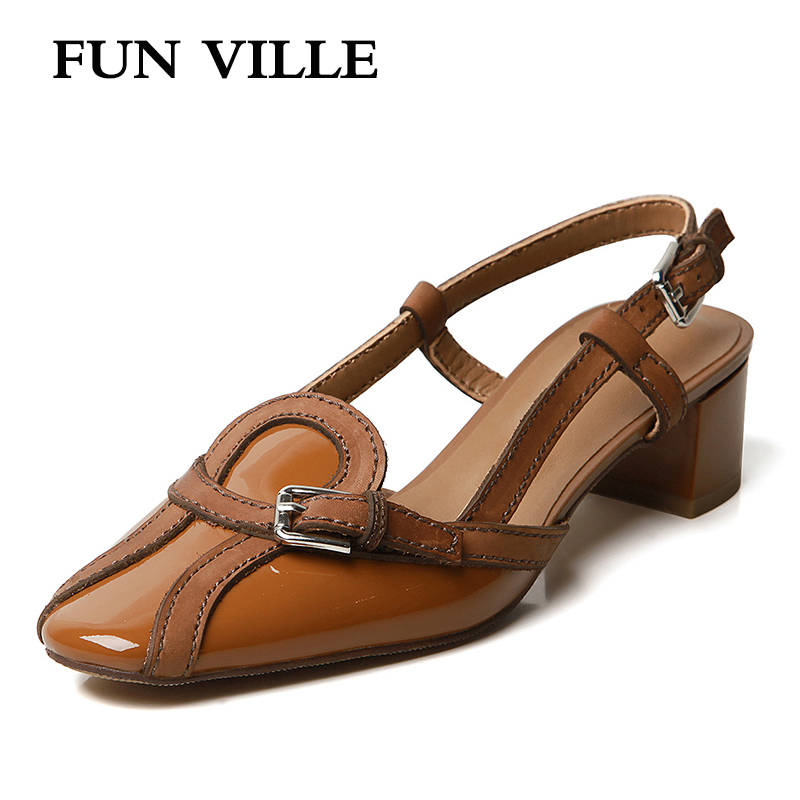 FUN VILLE 2019 New Fashion Summer shoes Women Sandals Genuine Leather High Heels shoes women Party