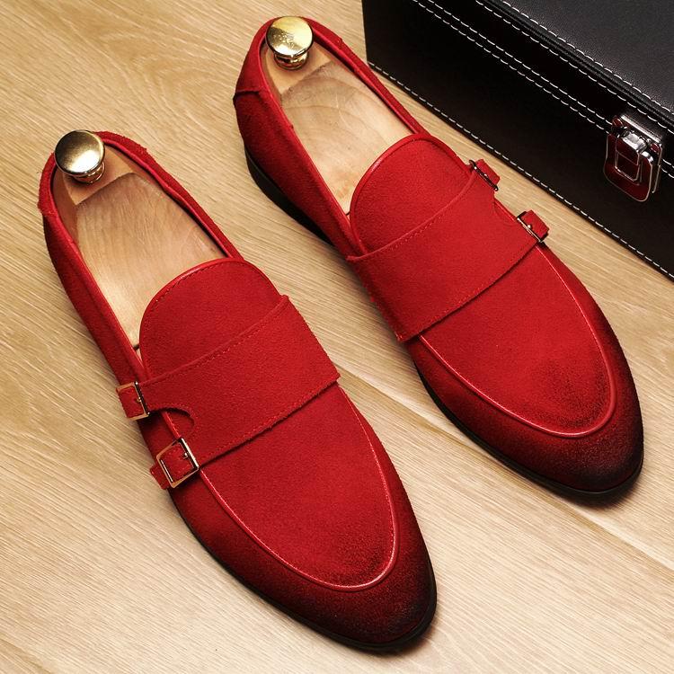 ERRFC ใหม่มาถึงแฟชั่นผู้ชายสีแดง Loafer รองเท้า Slip On Toe สีดำรองเท้าชายแบนหัวเข็มขัดสายคล้อง nubuck 38 43-ใน รองเท้าลำลองของผู้ชาย จาก รองเท้า บน   1