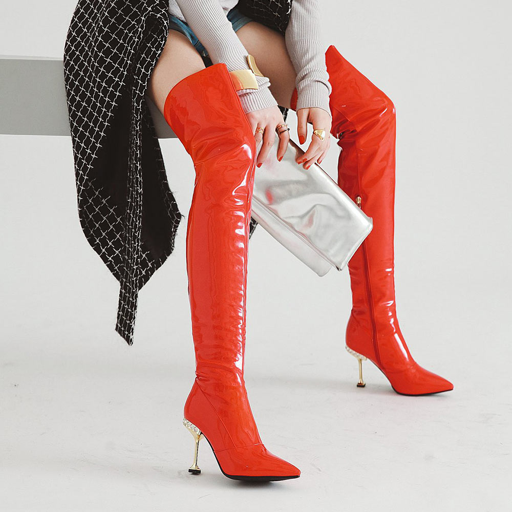 Women s Thigh High Stiletto Boots Sexy Over the Knee Boots Women Boots Red  Black Silver Patent Leather Long Boots F311 aee142c9eea9