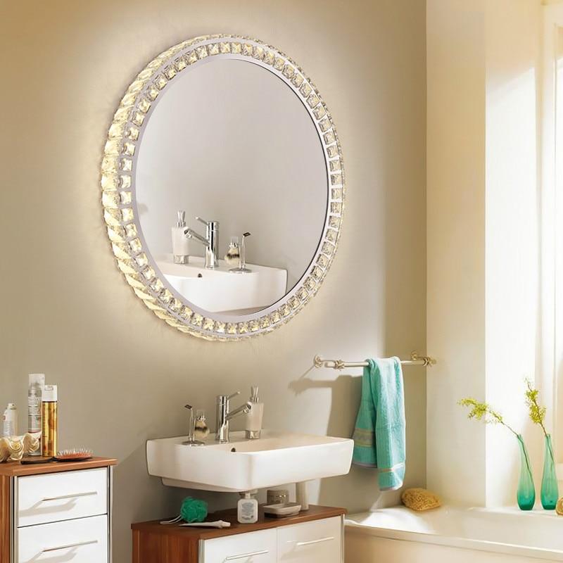 Led Crystal Bathroom Mirror Wall Lamp Circle Wall Mirror