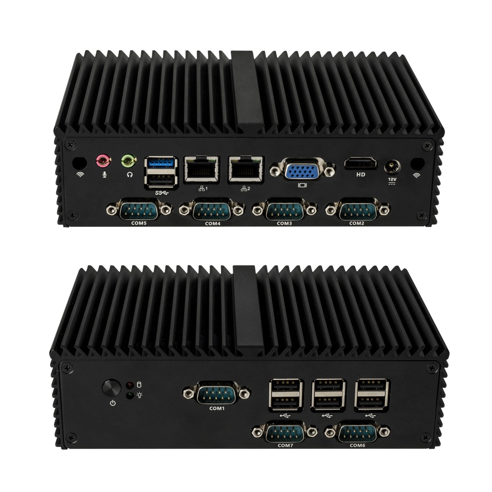 Latest New J1900 7 RS232 Fanless X86 Industrial Mini Desktop PC,Support PFsense,linux,cent Os.