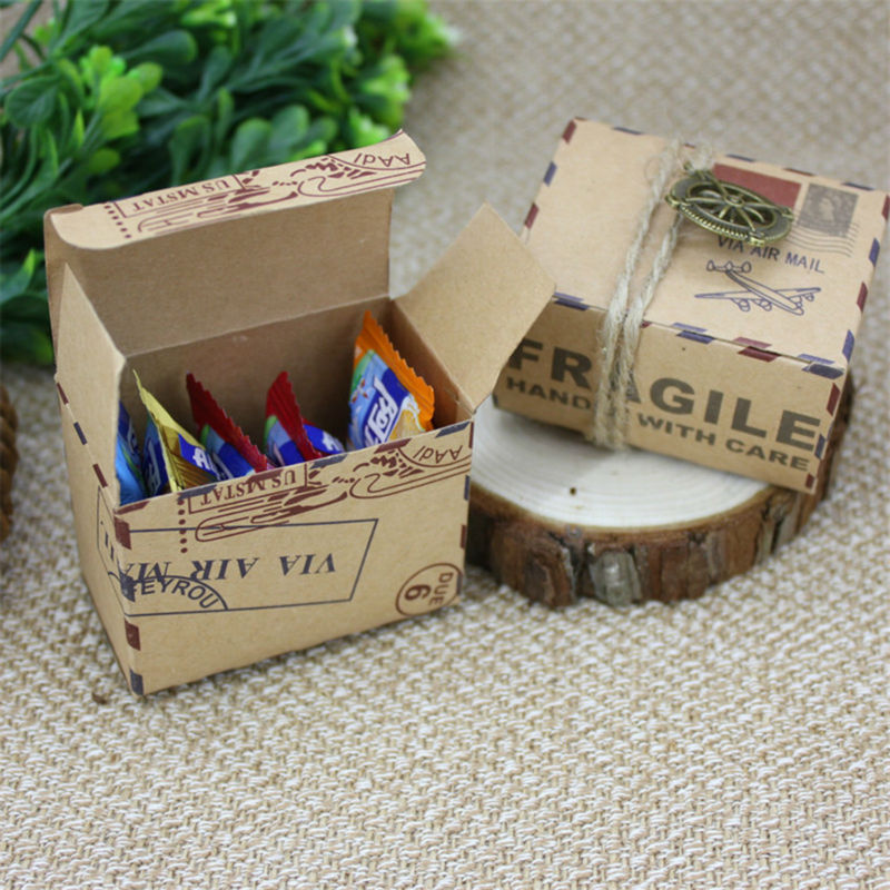 100pcs Kraft Air Mail Airplane Candy Box Kraft Paper Gift Box Travel Wedding Favors Souvenirs Rustic Party Centerpieces
