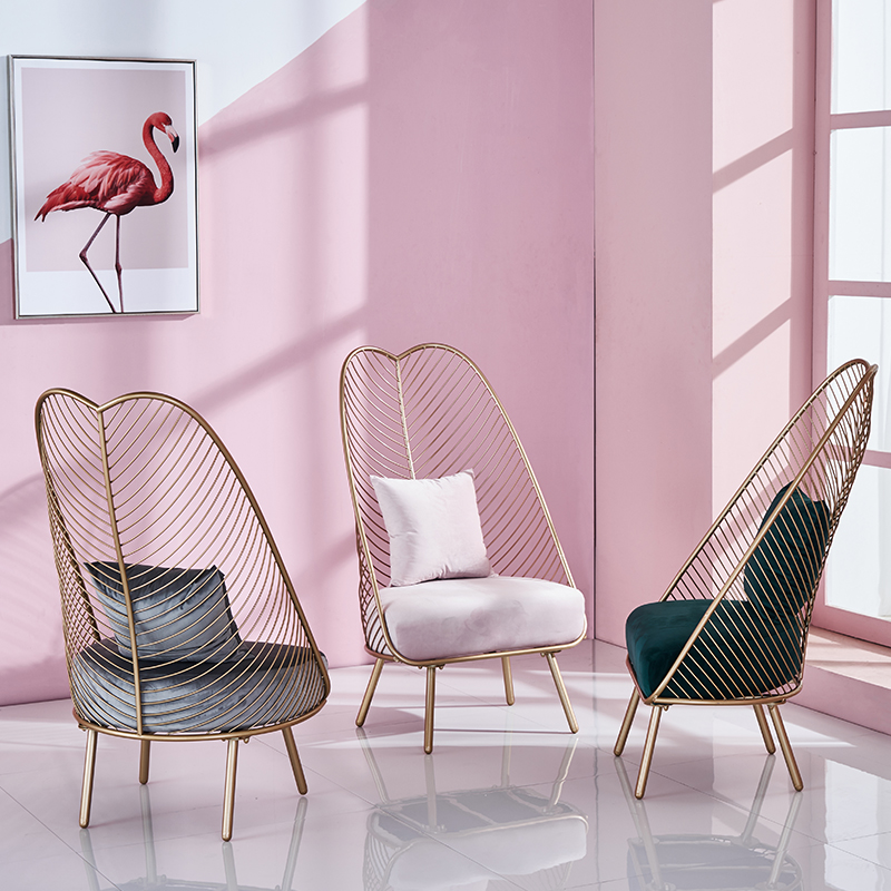 Pink Sofa Chair Wrought Iron Small