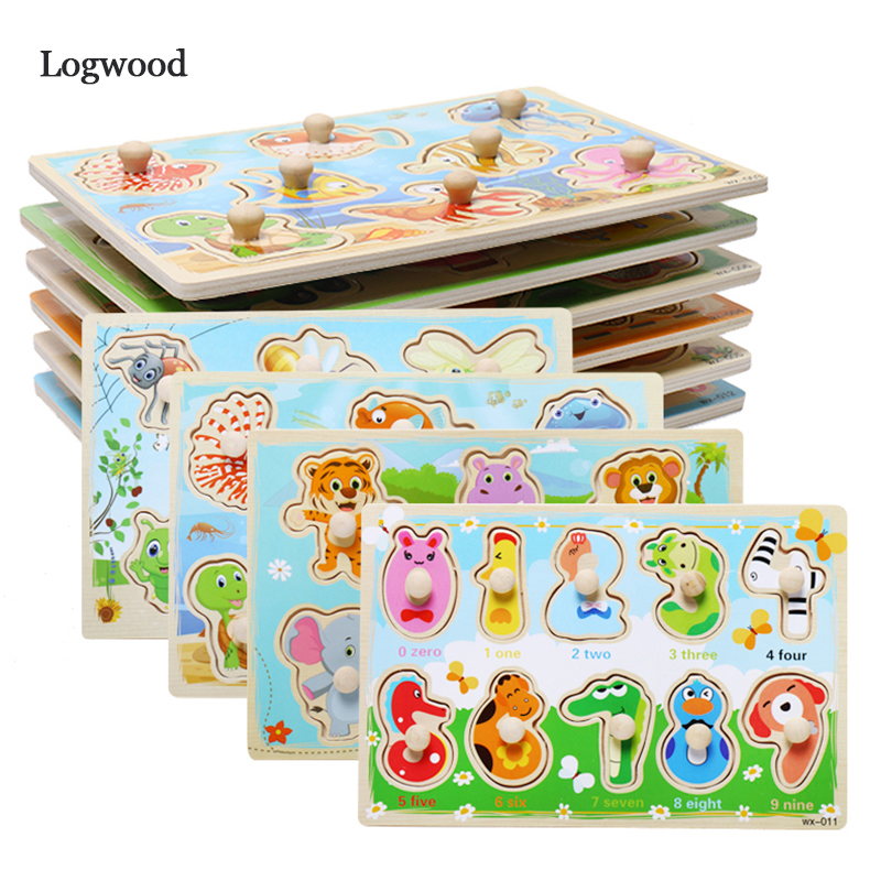 Wooden Puzzle Cartoon Vehicle Marine Animal Puzzle Jigsaw Board Montessori Puzzle Cognitive Card Toy For Children