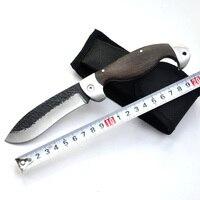 اليدوية مزورة الصلب الصيد أدوات التخييم السكاكين 58hrc الأبنوس مقبض سكين للطي نصل السكين + غمد شحن مجاني