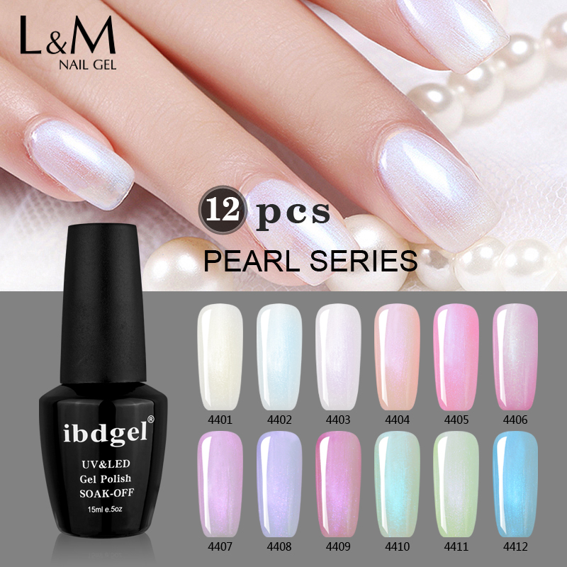 12 Pcs Kit IBDGel 15ML Nails Colors Gel polish Set Shinning Pearl Gel Gelpolish 1base 1top
