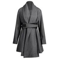 CharMma Assimétrico Com Cinto de segurança de 2017 Moda Plus Size 5XL Contornou Casaco Longo Mulheres Oversized Casual Turn-Down Collar Casaco Feminino