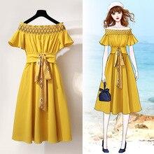 chiffon Women dresses slash neck summer dress retro style women beach long elegant party boho casual yellow pink