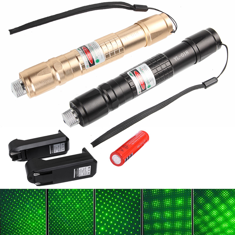 Pure Copper 1500M Green Laser Pointer Pen With 18650 Battery + Charger +Star Cap HT3-0022