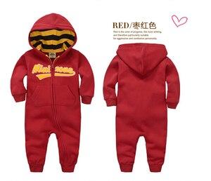 Image 3 - İlkbahar sonbahar bebek tulum kapşonlu bebek erkek giysileri yenidoğan pamuklu giysiler streetwear uzun kollu bebek erkek kız tulum