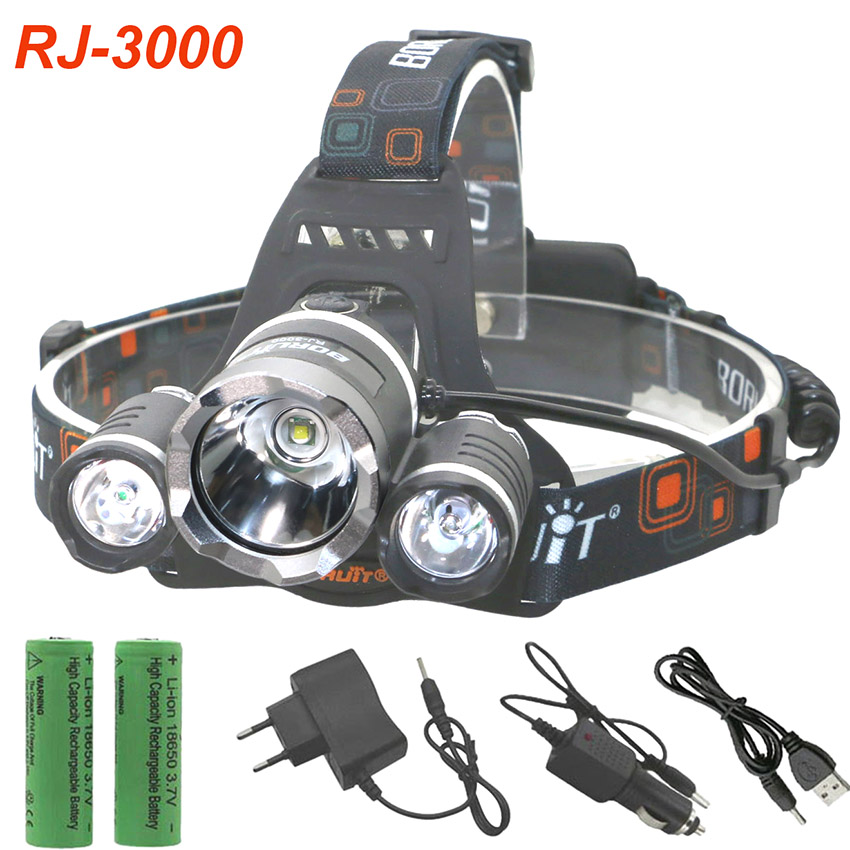 Boruit LED Headlamp 3LED headlight 8000LM T6 2R Rechargeable Lamp With 18650 battery car charger skyfire powerful brightest headlamp waterproof 2xt6 led headlight outdoor camp lamp hoofdlamp with 2 rechargeable 18650 4000lm