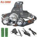 Boruit LED Headlamp 3LED headlight 8000LM T6 2R Rechargeable Lamp With 18650 battery car charger