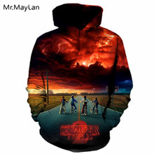 Movie Stranger Things Sunset Printed 3D Hoodies Men/Women Pullovers Sweatshirts Print Boy Riding Male Hooded Tracksuits Hip Hop new arrival stranger things print sweatshirts hoodies 2019 men cool tracksuits winter hoodie hip hop jacket male hoody harajuku