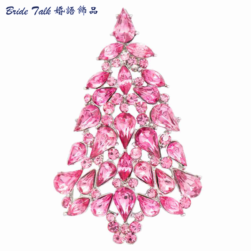 Fashion Rhinestone Brooches Christmas Tree Brooch Pin for Christmas Gift Women Party Free shipping 6 Color P5458 rhinestone christmas santa tree star brooches