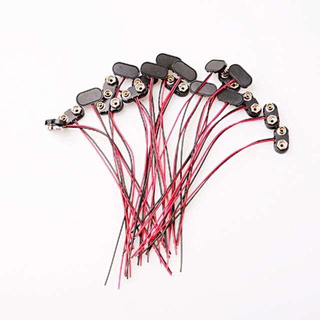 ̿̿̿(•̪ )20 unids cobre y plástico 9 V clip de la batería encaje en ...