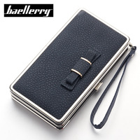 Baellerry Women S Long Leather Lovely Wallets Bowknot Decoration Female Purses With Handle Preppy Style Clutch