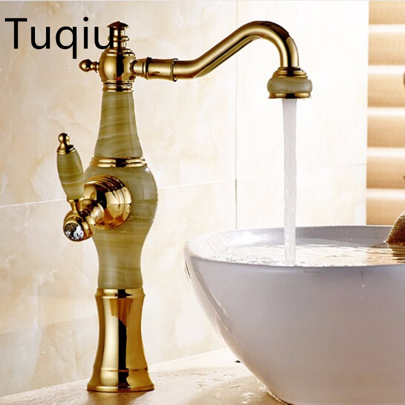 Free Shipping New Deck mounted brass and Jade faucet Bathroom Basin faucet Mixer Tap Gold Sink Faucet Bath Basin Sink Faucet free shipping brass copper basin faucet basin mixer bamboo faucet bathroom tap