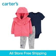 3pcs cotton polka dot bodysuit pull-on doggy pants zip-up jacket set Carter's baby girl spring autumn clothing 121I878