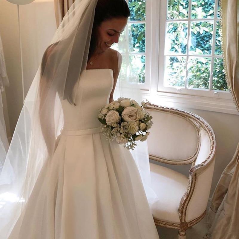 Simple-Boho-A-line-Wedding-Dresses-Strapless-Satin-Draped-Bridal-Dress-Bow-Sashes-Vestidos-De-Noiva (3)