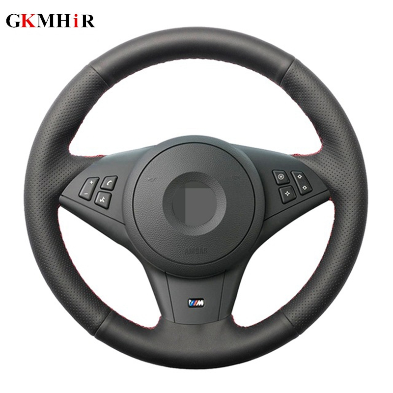 GKMHiR DIY Black Steering Wheel Cover Hand-stitched Artificial Leather Car Steering Wheel Cover For BMW E60 530i E63 E64 635D