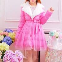 プリンセス甘いロリータパーカー韓国冬甘い気質襟ウエスト弓毛レース綿のコートドレススイング肥厚KMY01