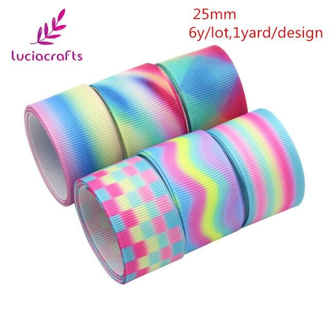 Rubans imprimés Satin/gros-grain de noël 6yards | Tailles multiples pour décoration de mariage, matériaux demballage de couture, bricolage T0112